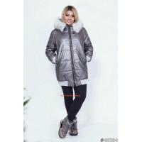Зимняя удлиненная куртка молодежная с мехом