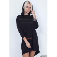 Стильное женское платье с капюшоном большого размера