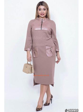 """Модное женское платье с кожаными вставками """"AMUR"""""""