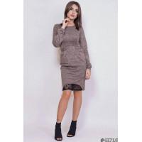 Тепле жіноче плаття із ангори та чорного мережива