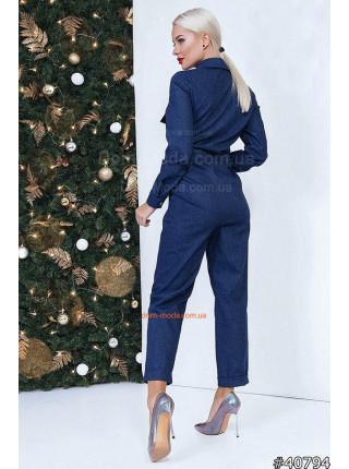 Женский джинсовый комбинезон с длинным рукавом