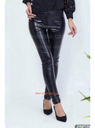 Женские кожаные штаны с молнией сзади