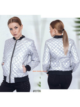 Модна жіноча куртка бомбер срібло