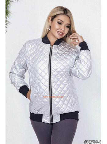Модная женская куртка бомбер серебро