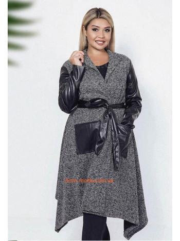 """Модное пальто со вставками из искусственной кожи """"Тира"""""""