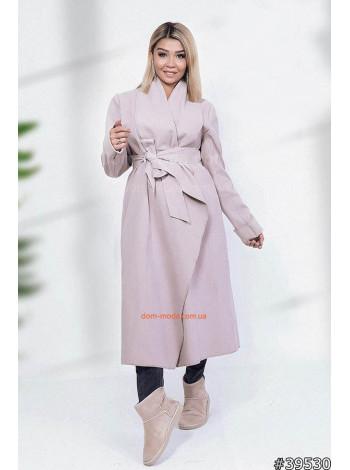 """Модное длинное пальто с поясом на запах """"Тиара"""""""