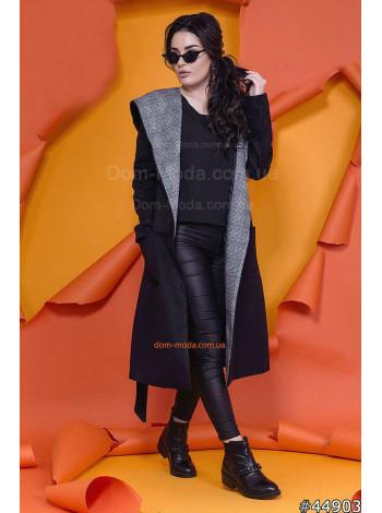 Женское длинное кашемировое пальто с капюшоном