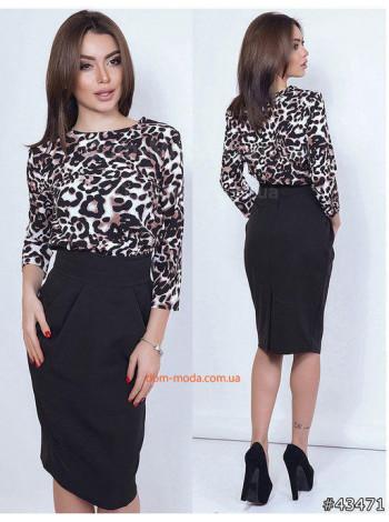 """Женское стильное платье с леопардовым верхом """"Пантера"""""""