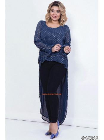 Женская стильная туника с длинным рукавом большого размера