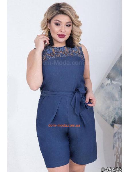 Летний женский джинсовый комбинезон большого размера