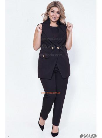 Брючный женский костюм с жилеткой большого размера