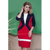 Жіноче ділове плаття футляр з геометричними вставками