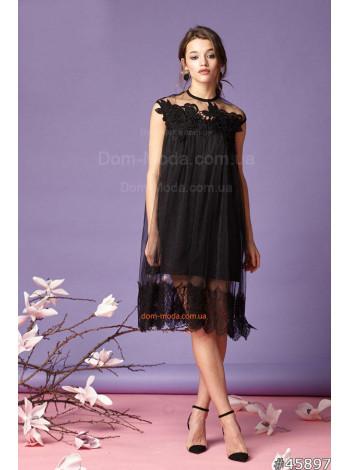 """Стильное женское черное платье """"Черный лебедь"""""""