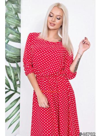 Стильное красное платье в белый горошек