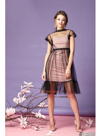 Женское стильное платье с черным фатином