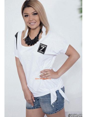 Модна жіноча футболка з зав'язками для повних