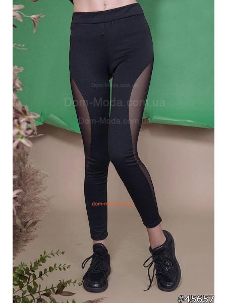 Черные спортивные лосины с сеткой