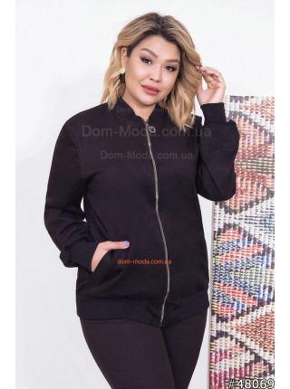 Женская замшевая куртка бомбер для полных