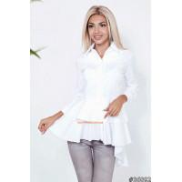 """Белая женская рубашка с баской """"Милена"""""""