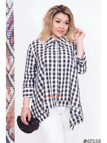 Женская стильная клетчатая рубашка с длинным рукавом