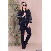 Стильный женский спортивный костюм со вставками из искусственной кожи большого размера