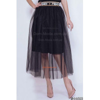 Женская черная юбка миди с сеточкой