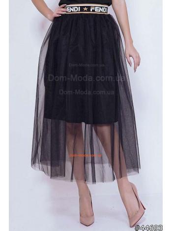 Жіноча чорна юбка міді з сіточкою