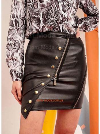 Стильная короткая юбка из кожи