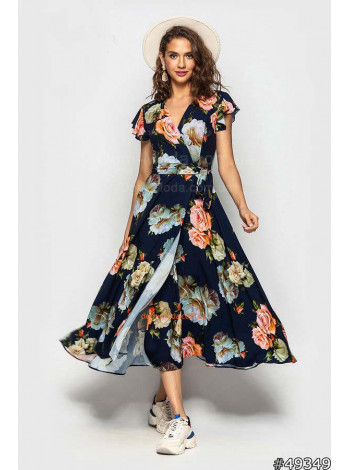 Женское летнее платье с рукавом воланом и поясом