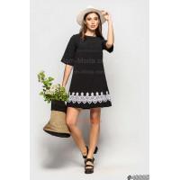 Женское стильное короткое черно белое платье с рукавом