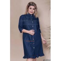 Женское джинсовое платье рубашка с рукавом