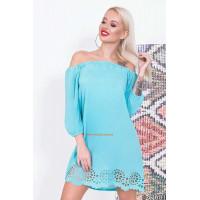 Стильное женское мини платье с открытыми плечами и длинным рукавом
