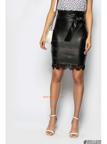 Стильная юбка женская с кружевом из кожи