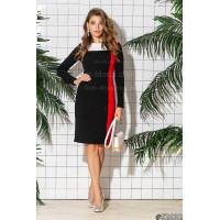 Стильне жіноче трикольорове плаття з рукавом