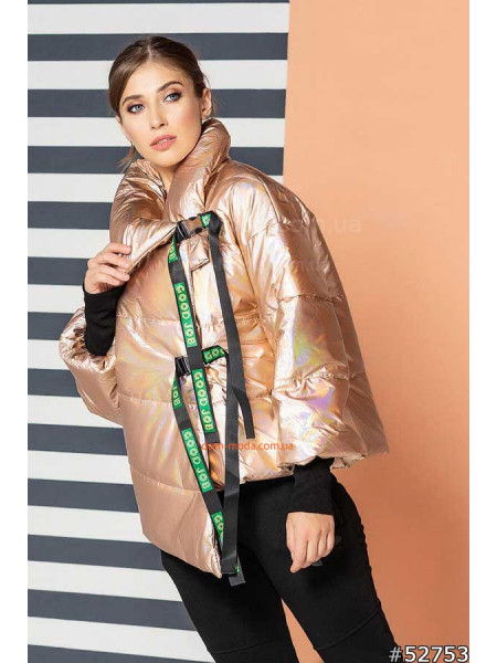 Демисезонная женская куртка металлик