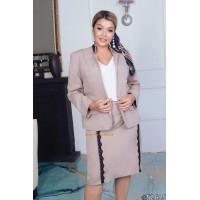 Стильний жіночий костюм зі спідницею трійка великого розміру