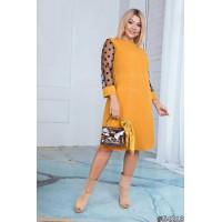 Жіноче офісне плаття зі вставками із сітки великого розміру