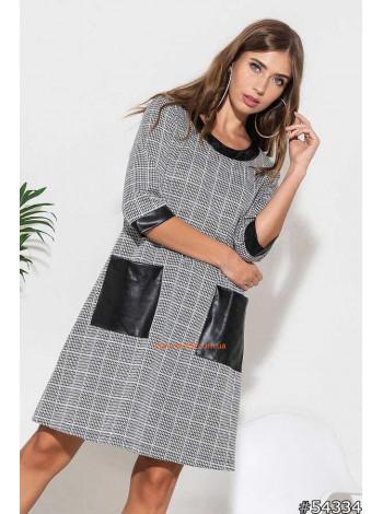 """Женское модное платье с кожаными вставками """"Поворот"""""""