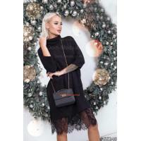 Жіноче коротке плаття з чорним мереживом
