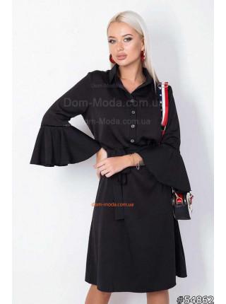 Женское деловое платье с рубашечным воротником