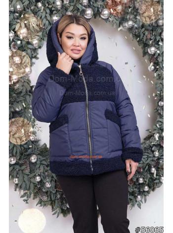 Женская модная куртка из меха и плащевки большого размера
