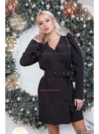 Двубортное платье пиджак с поясом