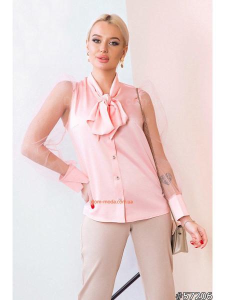 Жіноча блузка з бантом на шиї