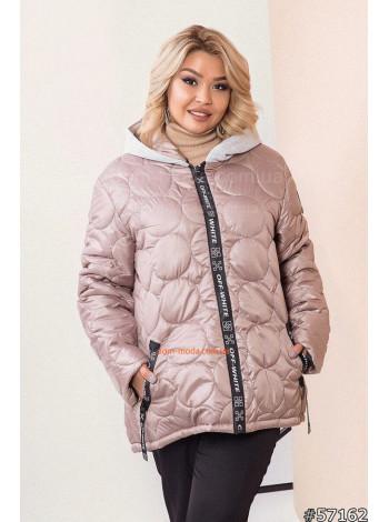 Женская куртка осень с трикотажной отделкой большого размера 46-60