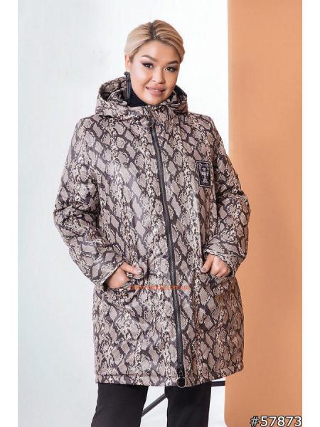 Куртка жіноча демісезонна батал зі зміїним принтом