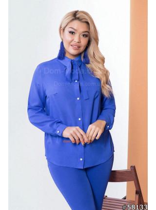 Женская шифоновая блузка с завязками на шее большого размера