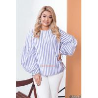 Оригинальная женская рубашка в полоску для полных