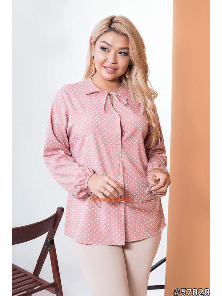Блузка в горошек для полных девушек