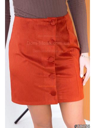 Короткая вельветовая юбка на пуговицах
