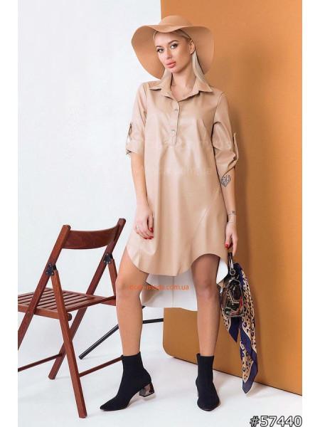 Кожаное платье рубашка свободного кроя